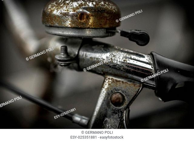 Details of a handlebar of bicycle attacked by rust