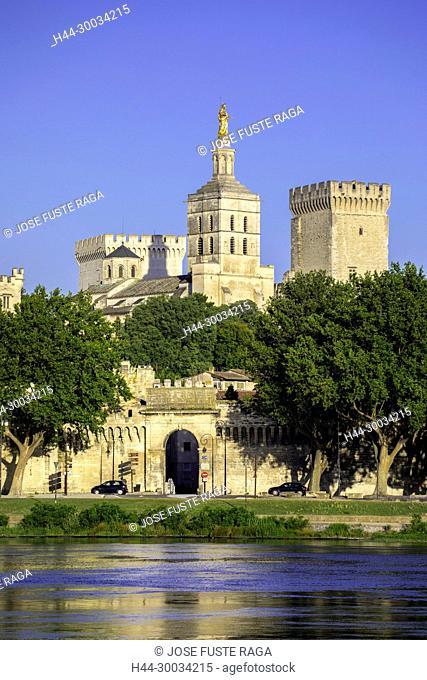 France, Provence region, Avignon city, the Popes Palace , W.H., St.,Rhone river