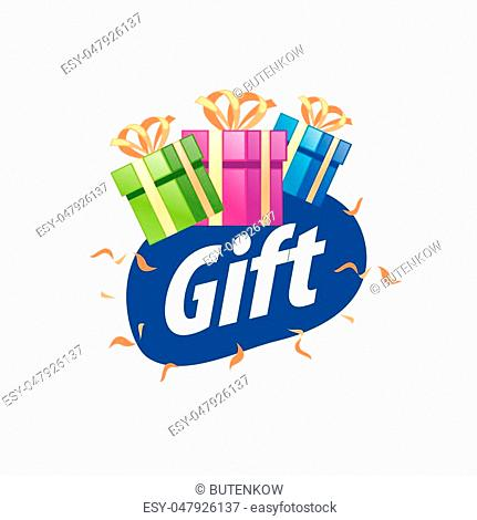 Abstract vector logo box with gifts. Design element