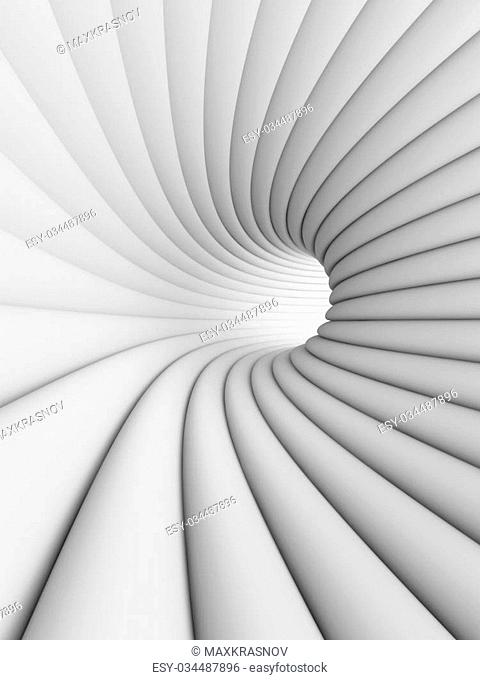 3d Illustration of White Abstract Tunnel Background