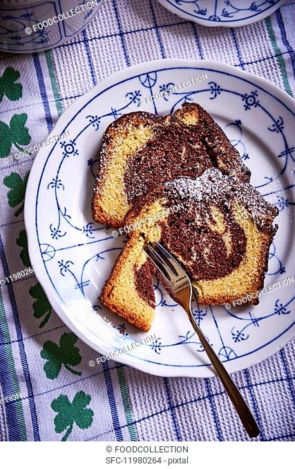 Two slices of marble cake