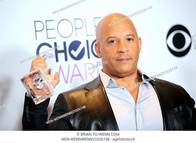 People's Choice Awards 2016 held at the Microsoft Theatre L.A. Live - Press Room Featuring: Vin Diesel Where: Los Angeles, California