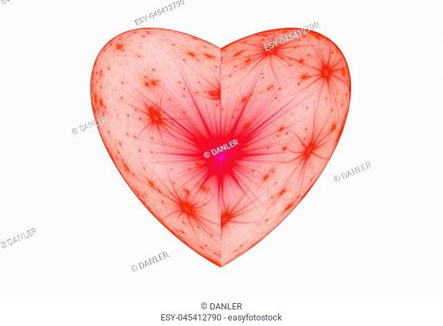 Bright abstract fractal red heart, Fractal heart fantasy