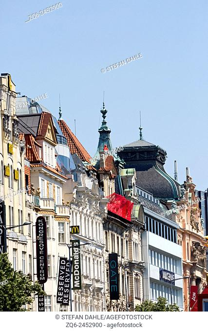 Historical Facades on Wenceslas Square in