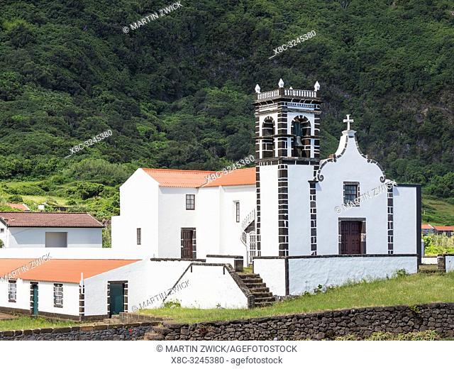 The church in the Faja da Caldeira de Santo Cristo . Sao Jorge Island, an island in the Azores (Ilhas dos Acores) in the Atlantic ocean