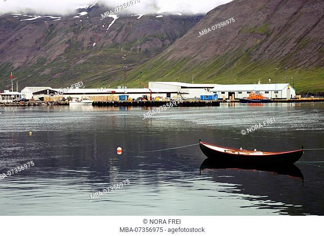 Harbor, mountain, Iceland, Siglufjördur