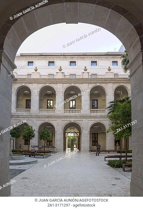Malaga, Spain - September 23th, 2018: Palacio de la Aduana Central porticoed patio, Malaga, Spain
