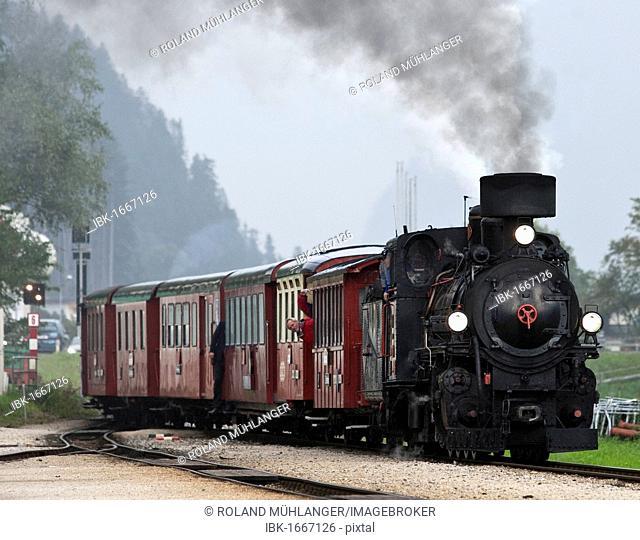 An old steam locomotive of the Zillertal transport company running as a tourist attraction, Zillertal, in Fuegen, Tyrol, Austria, Europe