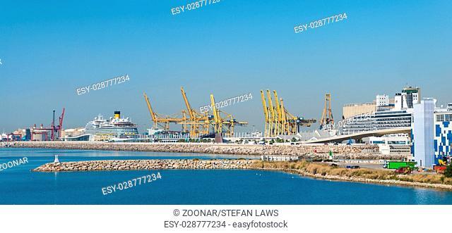 View direction Zona Franca Port the industrial harbor of Barcelona