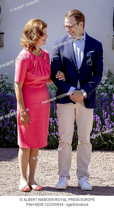 Queen Silvia and Prince Daniel of Sweden at Solliden Palace in Borgholm, on July 14, 2019, to attend the celebrations of Crown Princess Victoria her 42nd...