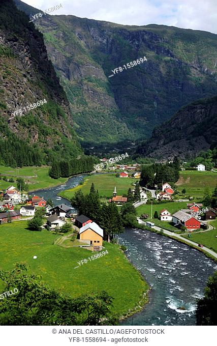Landscape next to Flam, from Flamsbana train Sognefjord Aurland,Norway