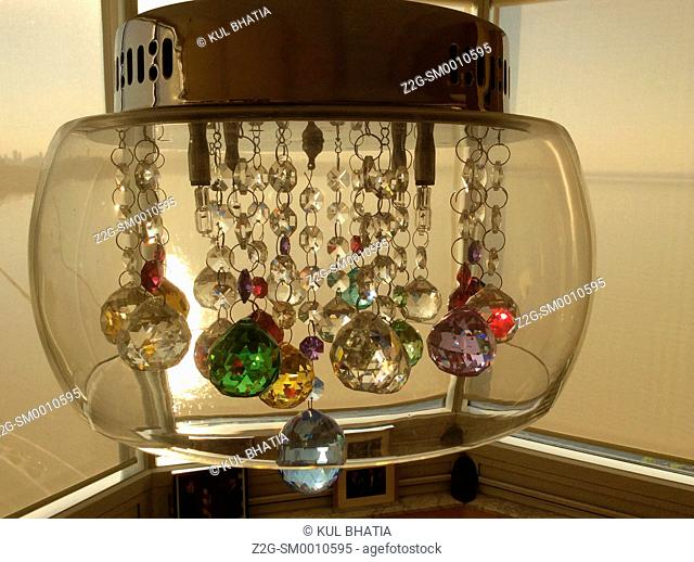 An elegant chandelier with multi-colour lights, Ontario, Canada