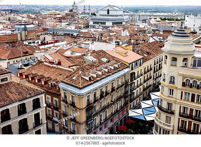 Spain, Europe, Spanish, Hispanic, Madrid, Centro, barrel tile roofs, city skyline, residential apartment buildings