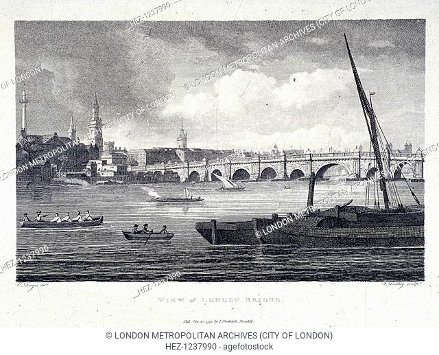 View of the west side of old London Bridge, London, 1798; with the Monument on the left hand side of the sky line and the Tower of London just visible on the...