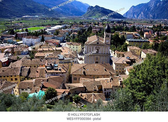Italy, Trentino, Arco, View to town with Church Santa Maria Assunta di Arco