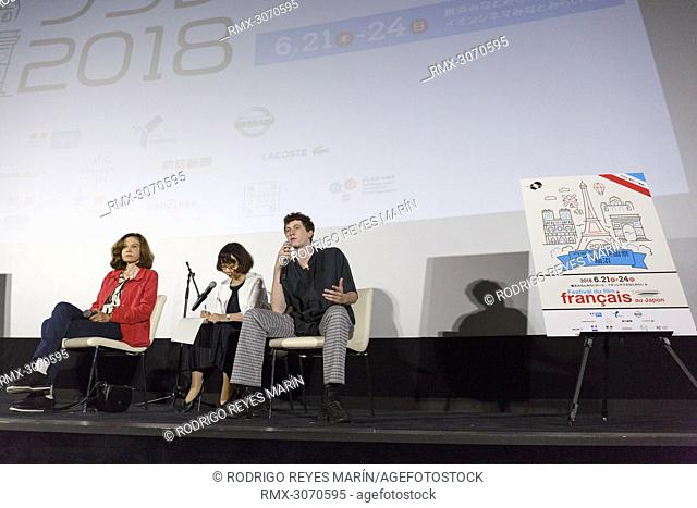 June 23, 2018 - Yokohama, Japan - French director Anne Fontaine (L) and actor Finnegan Oldfield (R) speak during a talk show for the film 'Marvin ou la belle...