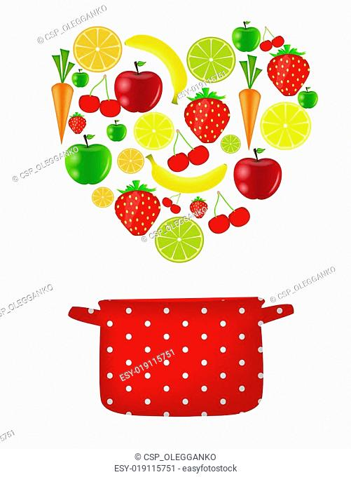 fresh fruits vector illustration