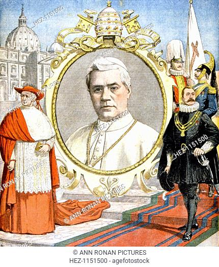 Pope Pius X, 1903. Born Giuseppe Sarto, Pius X (1835-1914) was Pope from 1903. From Le Petit Journal, 16 August 1903