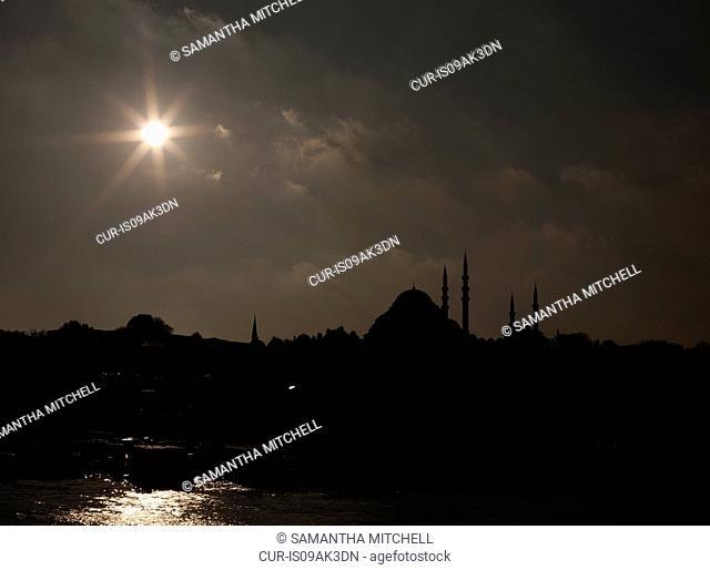 Silhouetted Suleymaniye mosque, Istanbul, Turkey
