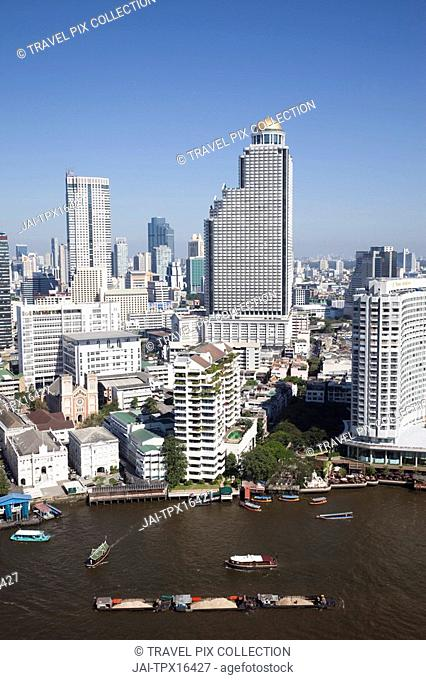 Thailand, Bangkok, City Skyline and Chao Phraya River