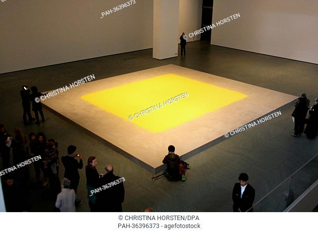 A field of yellow hazelnut pollen titled 'Pollen from Hazelnut' by Swabian artist Wolfgang Laib is on display at the Museum of Modern Art (MoMA) in New York