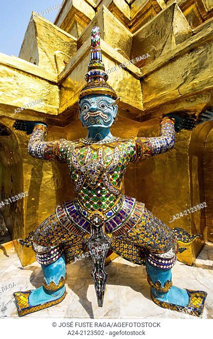 Thailand , Bangkok City, The Royal Palace , Wat Phra Kaew , detail