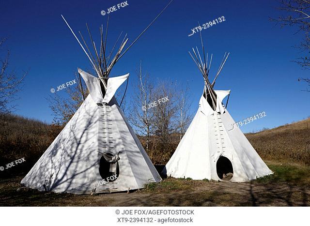 tipi tents at Wanuskewin heritage park saskatoon Saskatchewan Canada