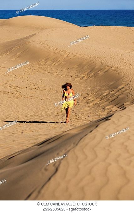 Woman at the sand dunes of Maspalomas, Gran Canaria, Canary Islands, Spain, Europe