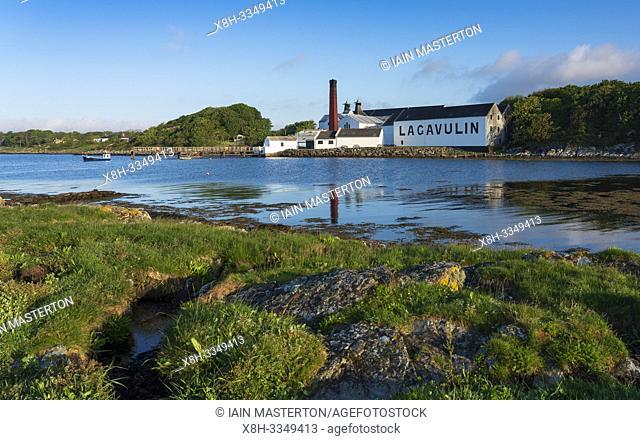 View of Lagavulin Distillery on island of Islay in Inner Hebrides of Scotland, UK