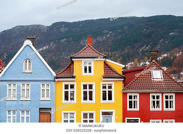 colorful traditional houses with a lot of windows in Bergen, Norway