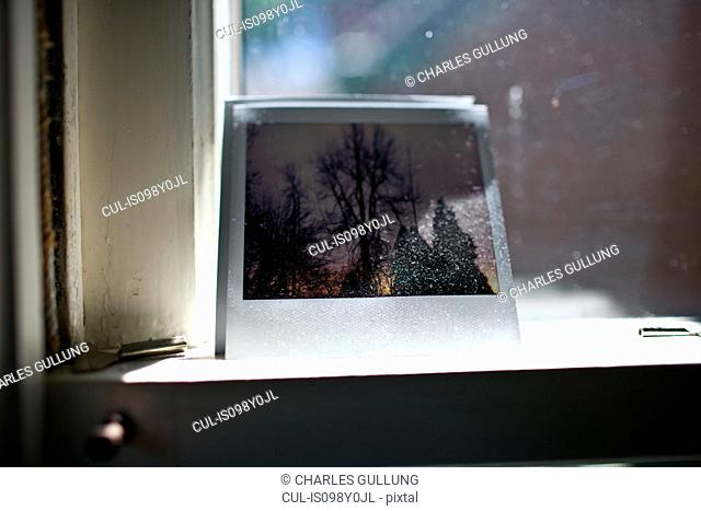 Instant film photograph on windowsill