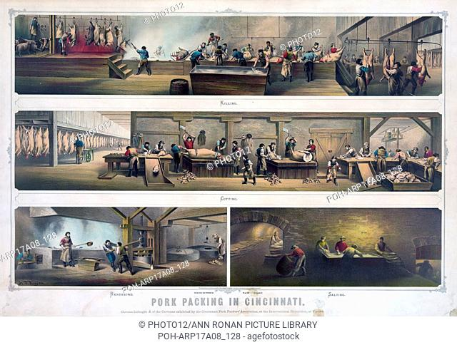 Pork packing in Cincinnati. Print showing four scenes in a packing house: Killing, Cutting, Rendering, [and] Salting