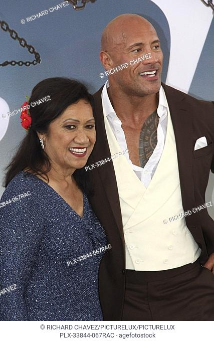 "Dwayne Johnson and mom Ata Johnson at the Universal Pictures World Premiere of """"Fast & Furious Presents: Hobbs & Shaw"""""