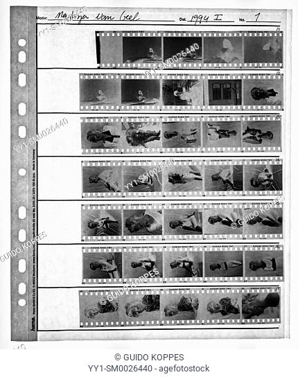 Studio Tuinstraat, Tilburg, Netherlands. Old fashioned contact sheet of analog black & white film 1994-I, made from an LED Lightbox