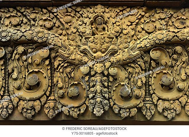 Bas relief carvings at the Banteay Srei temple at Angkor Wat in Siem Reap, Cambodia, South East Asia, Asia