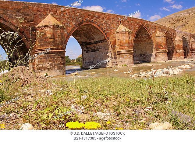Çobandede bridge over the Aras River (aka Araks, Arax, Araxi, Araxes, Araz, or Yeraskh) on the Silk Road from Erzurum to Kars, masterpiece of the Seldjuks