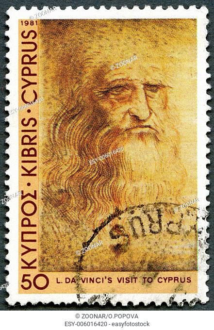 CYPRUS - 1981: shows Self-portrait, by Leonardo Da Vinci, Da Vinci's visit to Cyprus, 500th anniversary