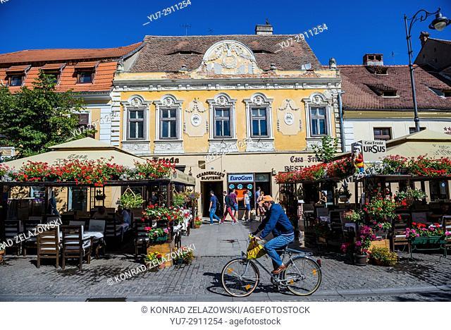 18th century building with Casa Frieda restaurant on Nicolae Balcescu Street in Historic Center of Sibiu city of Transylvania region, Romania