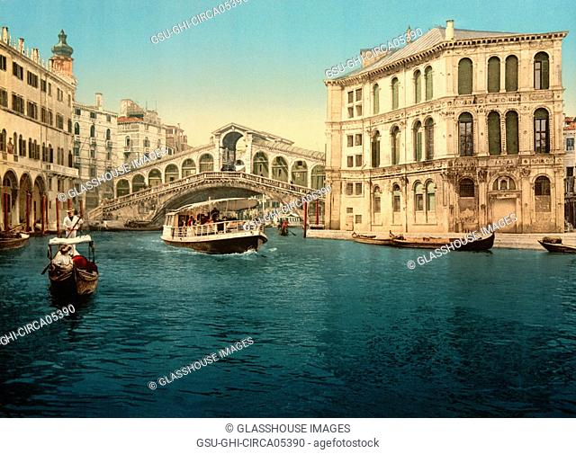 Grand Canal with Rialto Bridge, Venice, Italy, Photochrome Print, Detroit Publishing Company, 1900