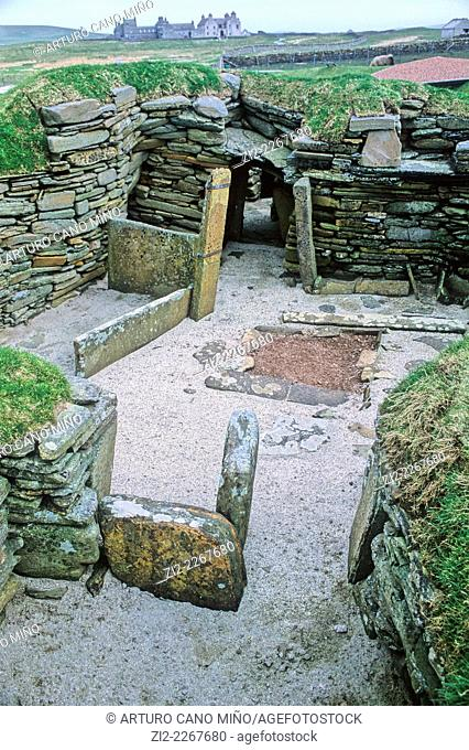 Skara Brae is a Neolithic settlement, located on the Bay of Skaill on the Mainland of the Orkney. Scotland, United Kingdom