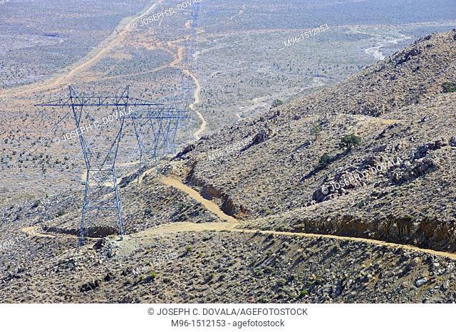 Large power lines, Providence Mountains, Mojave Desert, California, USA