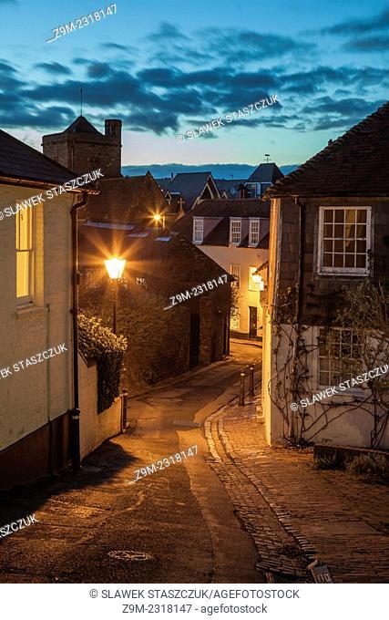 Night falls on Chapel Hill, Lewes, East Sussex, England, United Kingdom