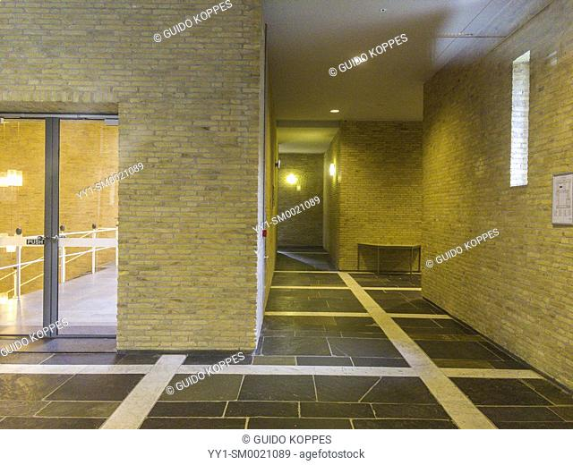Tilburg, Netherlands. Interior of the 1960's designed and build Cobbenhage Building and hallway at Tilburg University