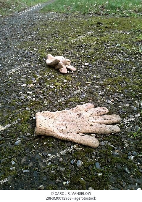 Child's gloves lying on path. Kidnapping concept