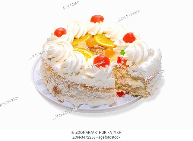 Cake with fruits on white backgroud. Cliping path