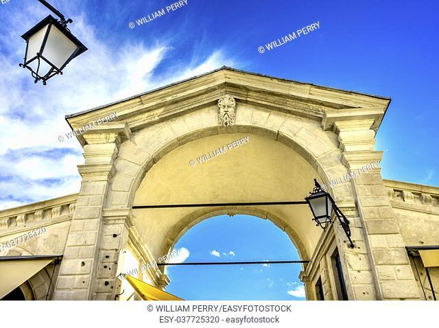 Colorful Rialto Covered Bridge Arch Grand Canal Venice Italy