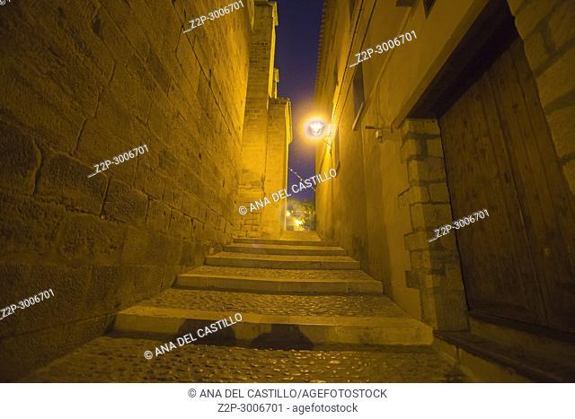 Mora de Rubielos village by night in Teruel, Aragon, Spain