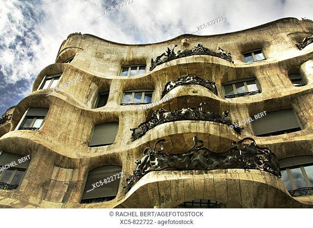 Mila House La Pedrera in Passeig de Gracia, Barcelona Catalonia, Spain