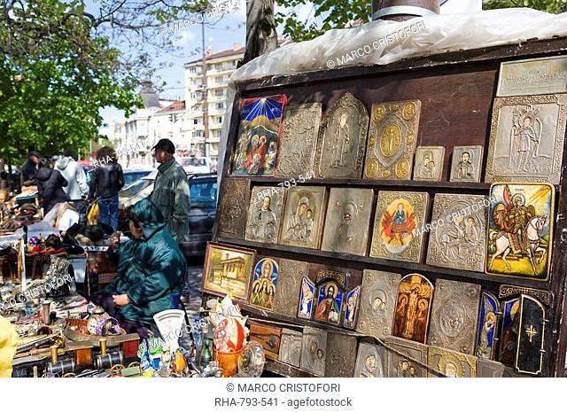 Icons at Aleksander Nevski church market, Sofia, Bulgaria, Europe