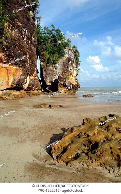 Rocky Coastline and Boulders Assam Beach or Telok Assam Bako National Park Sarawak Borneo Malaysia